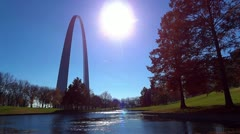 Stock Video Footage of St Louis Arch and Blue Sky 1 HD with Bright Sun, Blue Sky and Fall Colors