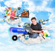 Internet cloud people with technology icons Stock Photos