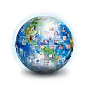 Social friends network globe Stock Illustration