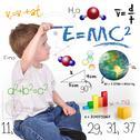 Young math science boy genius writing Stock Photos