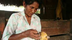 Woman hands making pottery, rural scene in Ecuadorian Amazonia Stock Footage