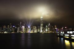 A Symphony of Lights at Victoria Harbour, Hong Kong - stock photo