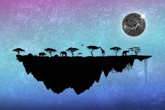 Silhouette safari floating island with trees and animals Stock Illustration