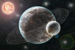 New planetary system, abstract cosmic background with planets and stars Stock Illustration