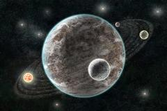 new planetary system, abstract cosmic background with planets and stars - stock illustration