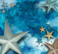 blue star art holiday background - stock illustration