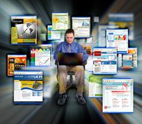 Business man surfing internet web sites Stock Photos