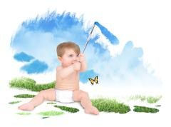 Baby painting green nature sky Stock Photos