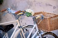 Stock Photo of white bicycles with basket