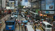 Stock Video Footage of Crowds Rush Hour, Shopping Area, Causeway Bay, Hong Kong Car, Bus Traffic