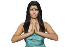 Woman Meditates with Third Eye - stock photo
