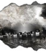 Black and white grunge city texture Stock Illustration