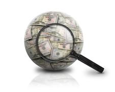 Search finance money ball on white Stock Photos