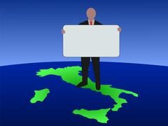 man on map of italy with sign - stock illustration
