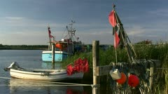 Fishing Boats in Little Harbour (Darsser Nothafen) - Baltic Sea, Germany Stock Footage