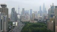 Establishing Shot Shanghai Skyline Aerial View People Crowd Car Moving Commuting Stock Footage