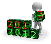New Year 2013 on green cubes - stock illustration