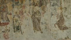 Old mural painting on a church wall Stock Footage