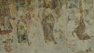 Stock Video Footage of old mural painting on a church wall