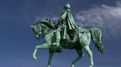 Equestrian Statue of Friedrich Franz II. in Schwerin - Northern Germany Stock Footage