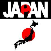 Map of japan and japan flag text illustration Stock Illustration