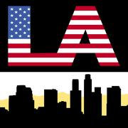 los angeles skyline with flag text - stock illustration