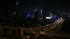 Time Lapse Office Building Busy Highway Shanghai Skyline Illuminated Night Light Stock Footage
