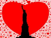 Statue of liberty with hearts Stock Illustration