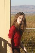 pretty girl outdoors - stock photo
