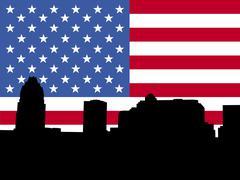 Austin siluetti kanssa lippu Piirros