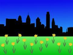 Philadelphia horisonttiin keväällä Piirros