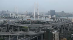 Aerial View of Shanghai, Nanpu Bridge Interchange, Huangpu River, time lapse Stock Footage