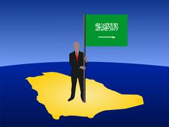 Stock Illustration of man with saudi arabian flag