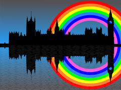 Houses of parliament with rainbow Stock Illustration