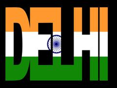 Stock Illustration of delhi text with indian flag