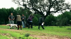 Hunters and dog Stock Footage