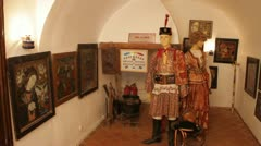 Old museum, traditional costumes and paintings Stock Footage