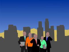 los angeles  business team - stock illustration