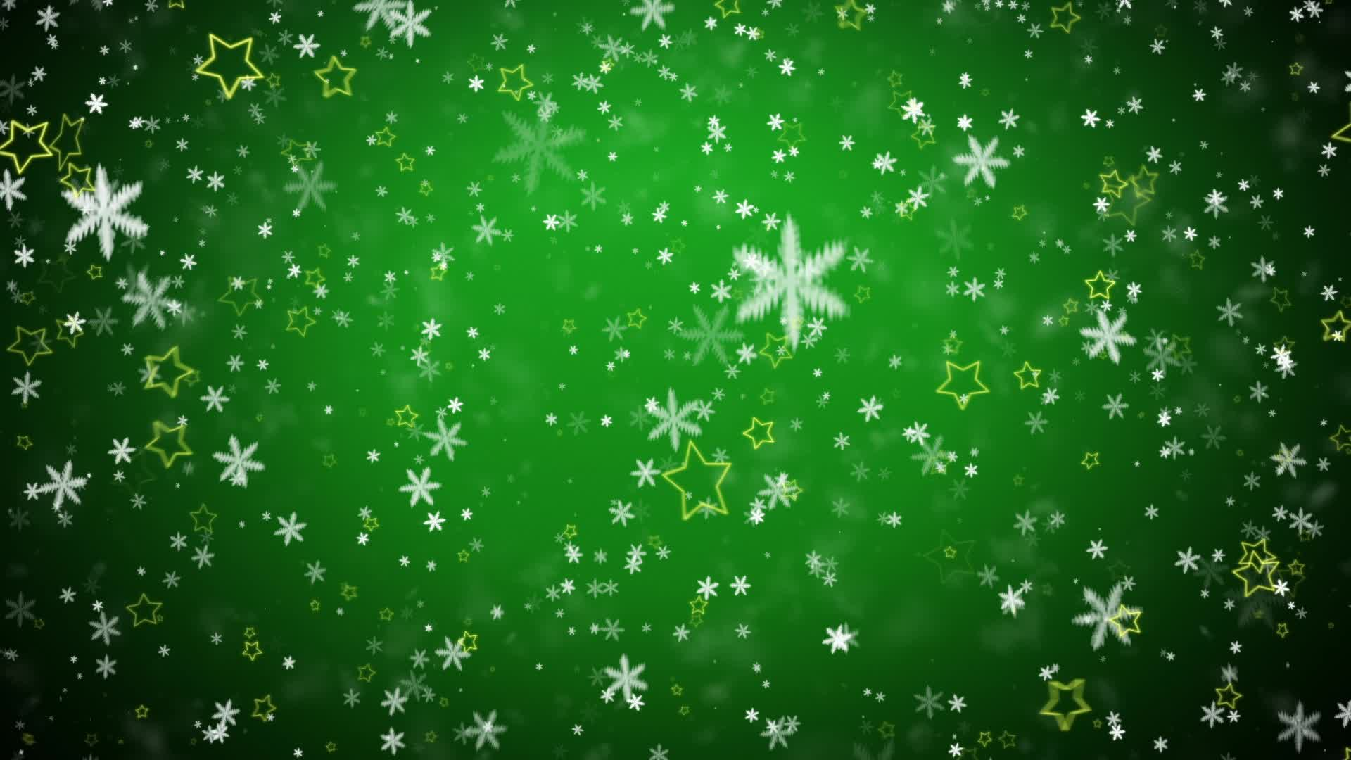Falling snowflakes and stars on a green background ...