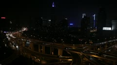 Business Towers Shanghai Skyline Aerial View Busy Street Urban Scene Cars Night Stock Footage