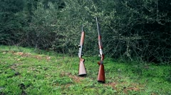 Shotguns and road Stock Footage