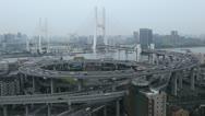 Big City Car Traffic, Aerial View , Shanghai, China, Nanpu Bridge, Huangpu River Stock Footage