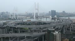 Aerial View Shanghai Skyline, Nanpu Bridge, Big City Car Traffic Jam, time lapse - stock footage
