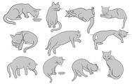 Stock Illustration of set of line cats silhouette