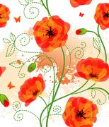 Red poppies back Stock Illustration