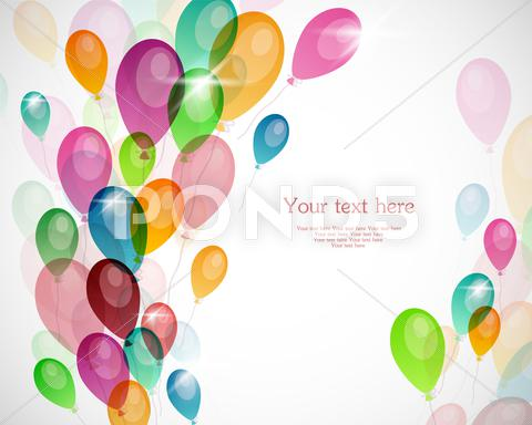 Stock Illustration of background with colored balloons
