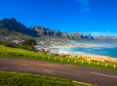 camps bay hillside with posts - stock photo