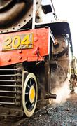 steam locomotive detail - stock photo