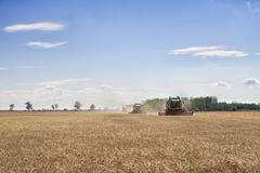 Three combined harvesters collecting from a wheat or barley field - stock photo