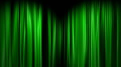 Green Curtains open, white background Stock Footage